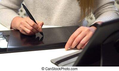 tablette, utilisation, home., concepteur, graphique