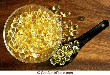 tabletten, durchsichtig, gelber