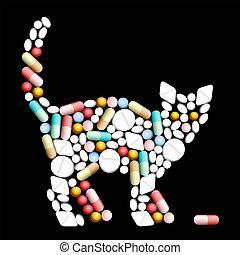 tabletten, pillen, kat