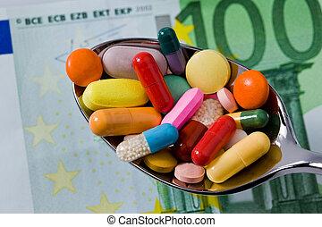 tabletten, und, medizin, zu, gesundheit
