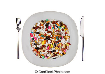 tabletten, und, medizinprodukt, zu, heilung, krankheit