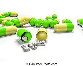 tabletten, von, banknoten, als, der, begriff, bezahlt, und, teuer, medizinprodukt, 3d, übertragung