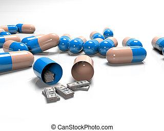 tabletten, von, banknoten, als, der, begriff, bezahlt, und, teuer, medizinprodukt