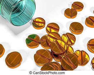 tabletten, von, gold, als, der, begriff, bezahlt, und, teuer, medizinprodukt, 3d, übertragung