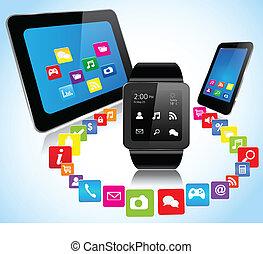 tablettes, smartphones, apps, smartwatch