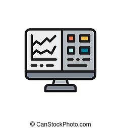 tableur, rapport, écran plat visualisation, icon., informatique, comptabilité, financier, couleur