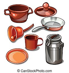 Tableware and household items made of metal isolated on a white background. Vector illustration.