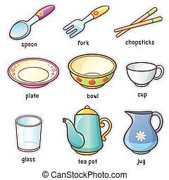Tableware - Vector illustration of Cartoon tableware...