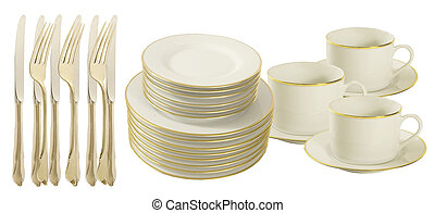 knives, forks plates and cups on a white background