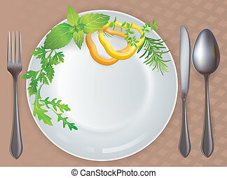 Tableware healthy food. Contains transparent objects. EPS10