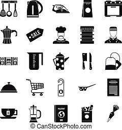 Tableware icons set, simple style
