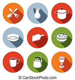 Tableware Icons set - Tableware icon collection on a colored...