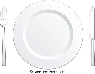 Tableware - Set for meal, a knife a fork and a plate