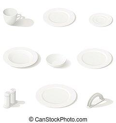 Tableware isometric icon set