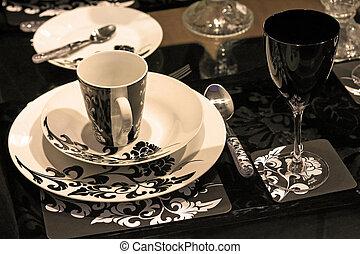 tableware, sepia