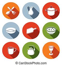 tableware, set, icone