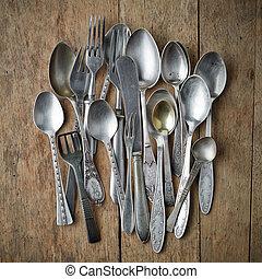 tableware, vecchio, argento