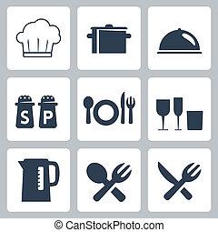 tableware, vettore, set, isolato, icone