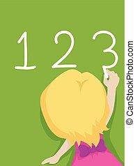 tablica, dziewczyna, 123, koźlę, pisanie
