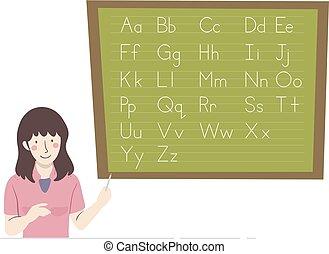 tablica, dziewczyna, nauczyciel, ilustracja, alfabet