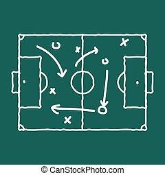 tablica, gra, strategia, kreda, dając korepetycje, piłka nożna, scheme.