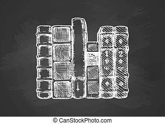 tablica, książki, hałas