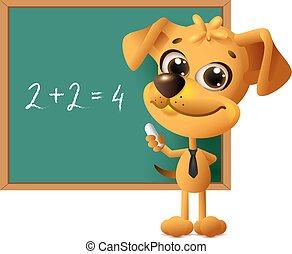 tablica, nauczyciel, stoi, żółty pies