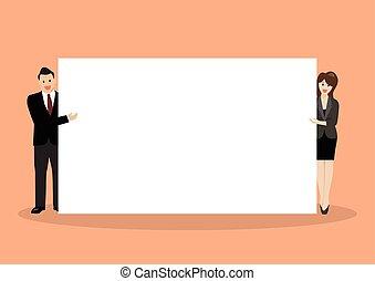 tablica ogłoszeń, biznesmen, kobieta spoinowanie