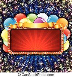 tablica ogłoszeń, jasny, balony
