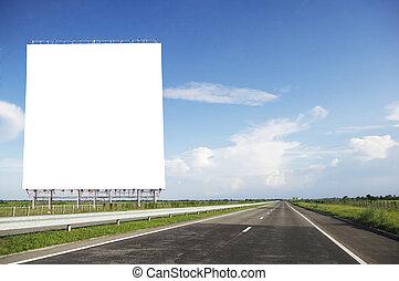 tablica ogłoszeń, na, wysoki, droga, drogowe bezpieczeństwo,...