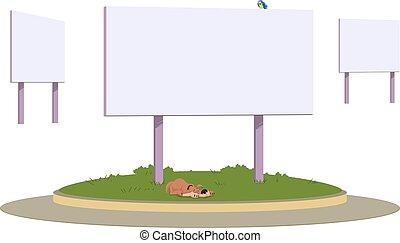 tablica ogłoszeń, pień, flowerbed., ilustracja