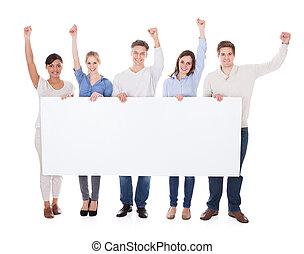 tablica ogłoszeń, ręka, grupa, wychowywanie, ludzie