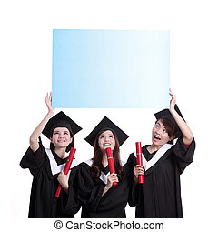 tablica ogłoszeń, szczęśliwy, absolwenci, student, pokaz
