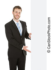 tablica ogłoszeń, zaufany, pokaz, biznesmen