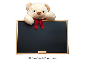tablica, opróżniać, teddy