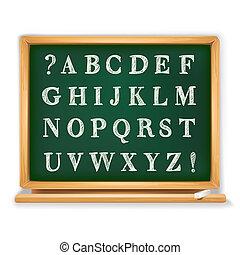 tablica, pisemny, abc, komplet