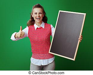 tablica, pokaz, młody, do góry, kciuki, student, uśmiechanie się