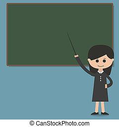 tablica, profesor, wektor, prezentacja, dziewczyna