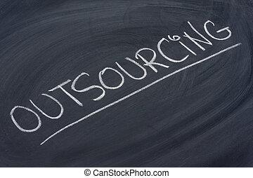 tablica, słowo, outsourcing