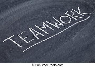tablica, słowo, teamwork