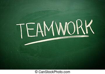tablica, teamwork, kreda, handwritten, słowo, biały