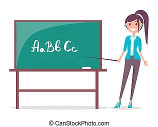 tablica, wektor, młody, ilustracja, nauczyciel