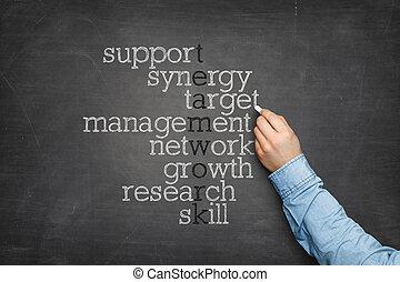 tablica, zagadka, słowo, teamwork