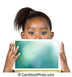 tabliczka, afrykanin, screen., za, czysty, dziewczyna, krycie