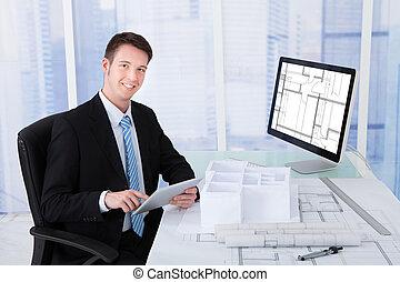 tabliczka, biurko, komputer, architekt, cyfrowy, używając