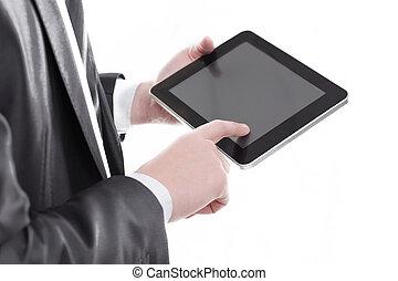 tabliczka, cyfrowy, klapiąc, up.businessman, zamknięcie, ekran