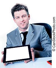 tabliczka, czysty, screen., pc, dzierżawa, cyfrowy, biznesmen, uśmiechanie się