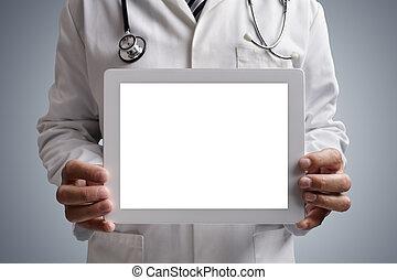 tabliczka, doktor, ekran, cyfrowy, czysty, pokaz