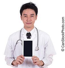 tabliczka, doktor, komputer, pokaz, ekran, czysty
