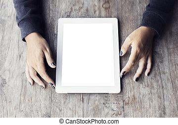 tabliczka, drewniany, ręki do góry, czysty, stół, cyfrowy, dziewczyna, kpić